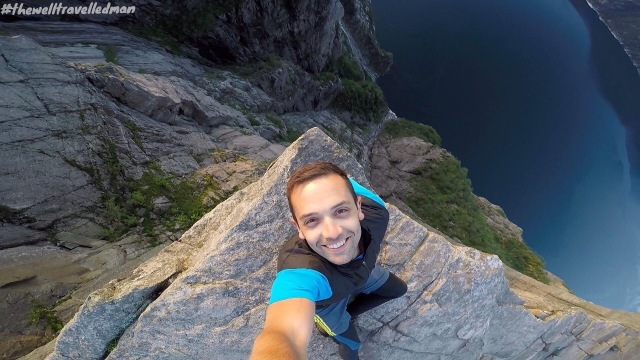 Standing on the corner of Pulpit Rock, it's only 604m to the fjord below!