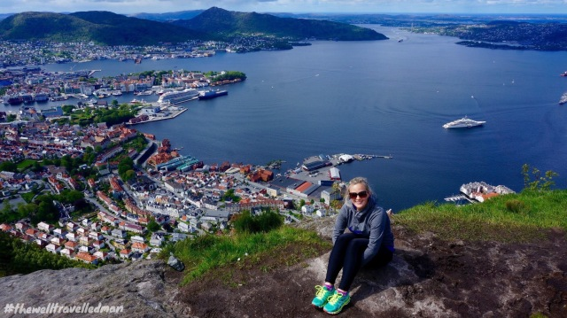 The view over Bergen from the top!