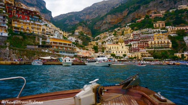 The view from our boat to Capri, looking back on Positano