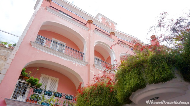 Gorgeous pink buildings on the island of Capri