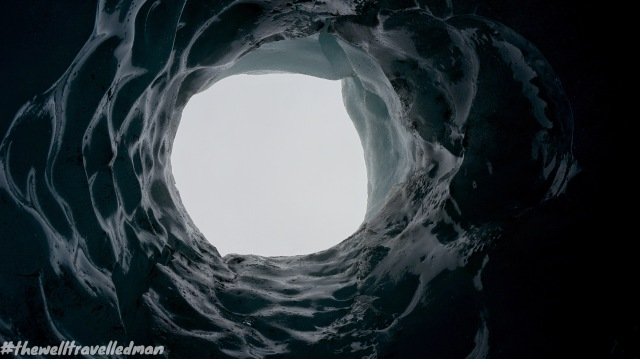 Looking up an ice cave at Sólheimajökull glacier