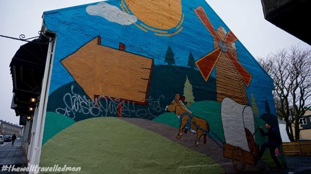 Art on the side of a building in Reykjavik