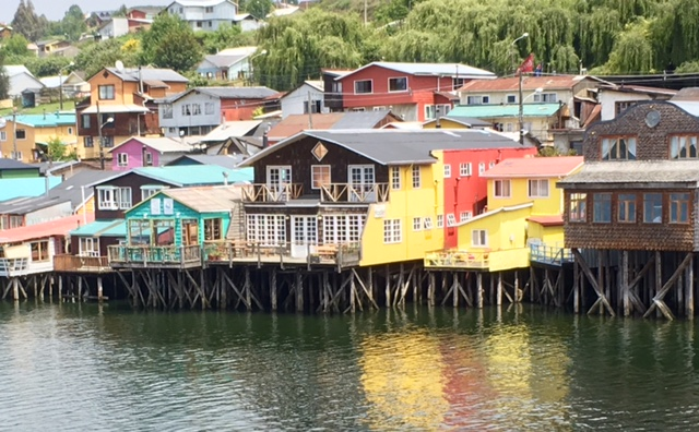 Colourful stilt houses in Castro, Isla de Chiloe