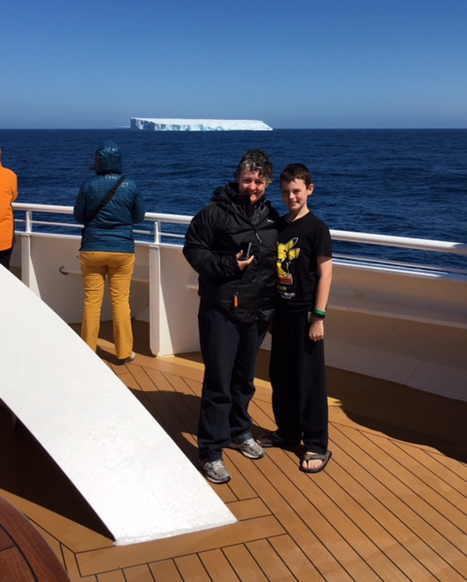 Our first iceberg sighting was very exciting. Also spot the Aussie kid who wears thongs in 1deg Celsius