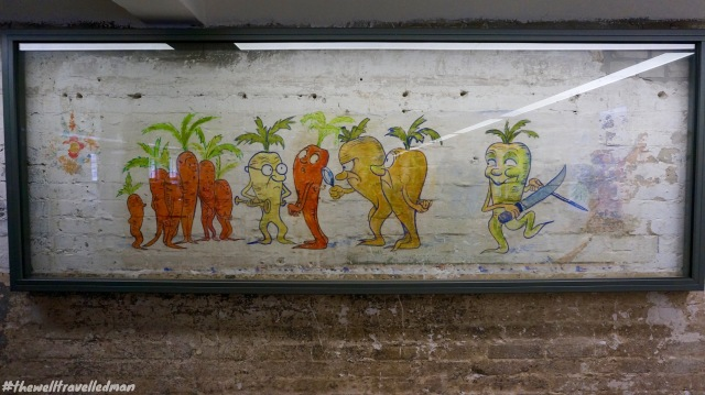 Hans Grundig, a German artist was rumored as a prisoner at Sachsenhausen Concentration Camp. His work was discovered when refurbishing the kitchen