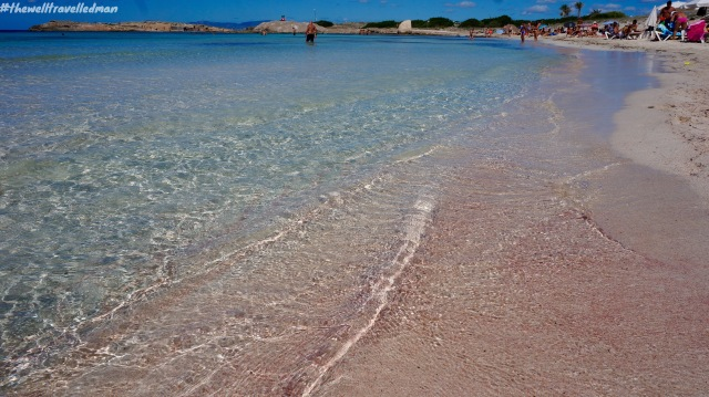 The beautiful pink sand at Playa de Ses Illetes, Formentera